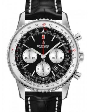 Breitling Navitimer B01 Chronograph 43 Black Dial Stainless Steel Bezel Croco Strap AB0121211.B1P1 - BRAND NEW