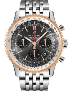 Breitling Navitimer B01 Chronograph 43 Stratos Grey Dial Rose Gold Bezel Stainless Steel Bracelet UB0121211.F1A1 - BRAND NEW