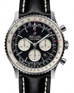 Breitling Navitimer B01 Chronograph 46 Black Dial Stainless Steel Bezel Leather Strap Tang Buckle AB0127211.B1X1 - BRAND NEW