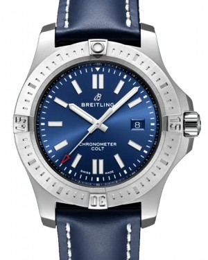 Breitling New Colt 44 Blue Dial Stainless Steel Bezel Leather Strap 44mm A17388101.C1X1 - BRAND NEW