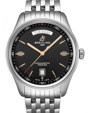 Breitling Premier Automatic Day & Date 40 Black Dial Stainless Steel Bezel & Bracelet A45340241.B1A1 - BRAND NEW