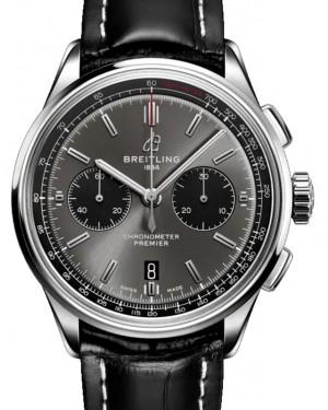 Breitling Premier B01 Chronograph 42 Blackeye Grey Dial Stainless Steel Bezel Leather Bracelet AB0118221.B1P1 - BRAND NEW