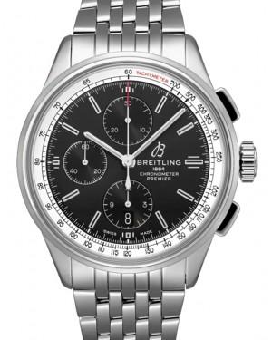Breitling Premier Chronograph 42 Black Dial Stainless Steel Bezel & Bracelet A13315351.B1A1 - BRAND NEW