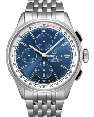 Breitling Premier Chronograph 42 Blue Dial Stainless Steel Bezel & Bracelet A13315351.C1A1 - BRAND NEW