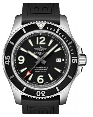 Breitling Superocean Automatic 44 Black Dial & Bezel Stainless Steel Rubber Bracelet Bracelet 44mm A17367D71.B1S1 - BRAND NEW