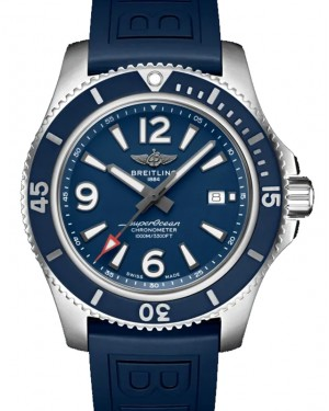 Breitling Superocean Automatic 44 Blue Dial & Bezel Stainless Steel Rubber Bracelet 44mm A17367D81.C1S1 - BRAND NEW