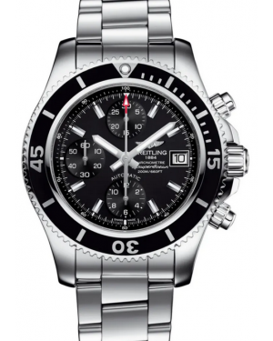 Breitling Superocean Chronograph 42 Black Dial Rubber Bezel Stainless Steel Bracelet A13311C9.BF98 - BRAND NEW
