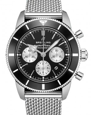 Breitling Superocean Heritage B01 Chronograph 44 Black Dial Stainless Steel Bezel & Bracelet AB0162121.B1A1 - BRAND NEW