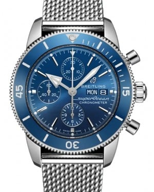 Breitling Superocean Heritage Chronograph 44 Blue Dial Stainless Steel Bezel & Bracelet A13313161.C1A1 - BRAND NEW