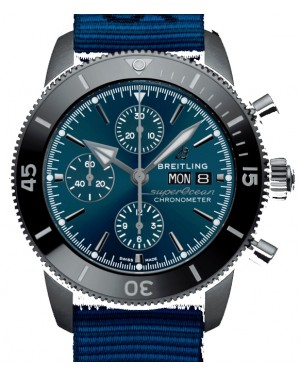 Breitling Superocean Heritage Chronograph 44 Outerknown Blue Dial DLC-Stainless Steel Case Blue Strap M133132A1.C1W1 - BRAND NEW