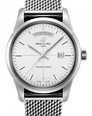 Breitling Transocean Day & Date Silver Dial Stainless Steel & Bracelet 45mm A45310121.G1A1 - BRAND NEW