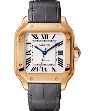 Cartier Santos Medium Rose Gold White Dial Leather Stap WGSA0012 - BRAND NEW