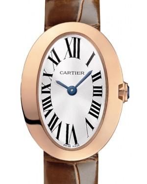 Cartier Baignoire Women's Watch Mini Quartz Rose Gold Silver Dial Alligator Leather Strap W8000017 - BRAND NEW