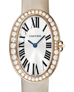 Cartier Baignoire Women's Watch Small Quartz Rose Gold Diamonds Silver Dial Satin Strap WB520004 - BRAND NEW