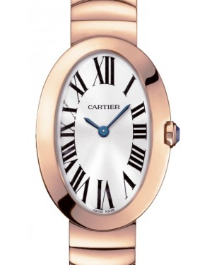 Cartier Baignoire Women's Watch Small Quartz Rose Gold Silver Dial Rose Gold Bracelet W8000005 - BRAND NEW