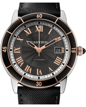 Cartier Ronde Croisière De Cartier Watch W2RN0005 Grey Roman Rose Gold & Black Synthetic Bezel Stainless Steel Leather - BRAND NEW