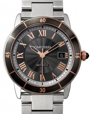 Cartier Ronde Croisière De Cartier Watch W2RN0007 Grey Roman Rose Gold & Black Synthetic Bezel Stainless Steel - BRAND NEW