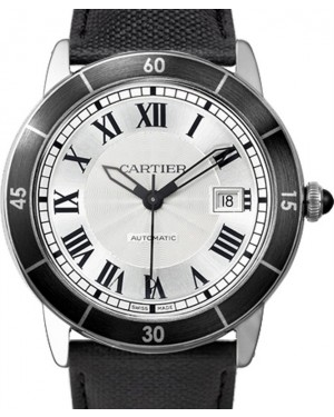 Cartier Ronde Croisière De Cartier Watch WSRN0002 Silver Roman Black Synthetic Bezel Stainless Steel Leather - BRAND NEW