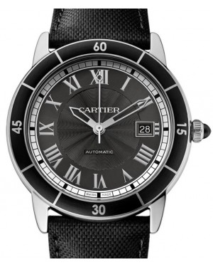 Cartier Ronde Croisière De Cartier Watch WSRN0003 Grey Roman Black Synthetic Bezel Stainless Steel Leather - BRAND NEW