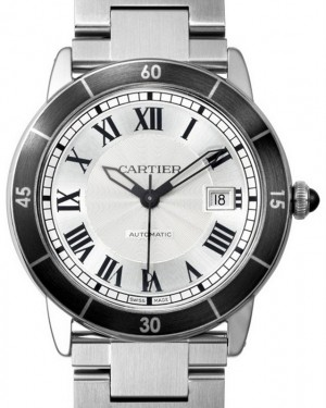 Cartier Ronde Croisière De Cartier Watch WSRN0010 Silver Roman Black Synthetic Bezel Stainless Steel - BRAND NEW