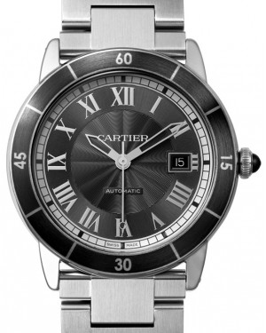 Cartier Ronde Croisière De Cartier Watch WSRN0011 Grey Roman Black Synthetic Bezel Stainless Steel - BRAND NEW
