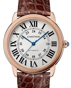 Cartier Ronde Solo de Cartier Men's Watch Automatic Rose Gold 42mm Silver Dial Alligator Leather Strap W6701009 - BRAND NEW