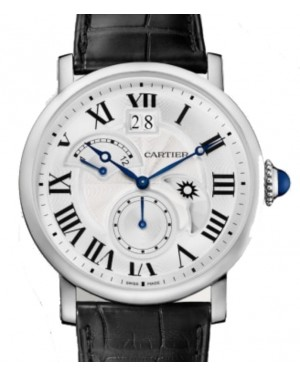 Cartier Rotonde de Cartier Large Date Retrograde Second Time Zone and Day Night Indicator Men's Watch Automatic Stainless Steel 42mm Silver Dial Alligator Leather Strap W1556368 - BRAND NEW