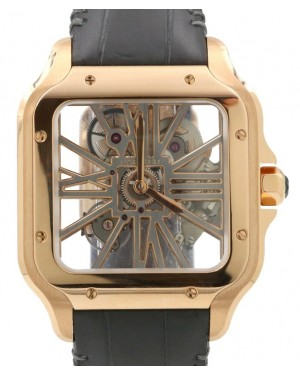 Cartier Santos De Cartier Rose Gold Skeleton Dial & Fixed Bezel Leather Bracelet WHSA0010 - PRE-OWNED
