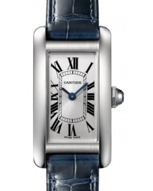 Cartier Tank Americaine Women's Watch Small Quartz Stainless Steel Silver Dial Alligator Leather Strap WSTA0016 - BRAND NEW