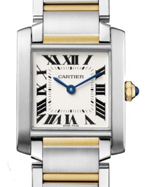 Cartier Tank Francaise Women's Watch Medium Quartz Stainless Steel Silver Dial Stainless Steel Yellow Gold Bracelet W2TA0003 - BRAND NEW