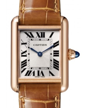 Cartier Tank Louis Cartier Women's Watch Small Manual Winding Rose Gold Silver Dial Alligator Leather Strap WGTA001 - BRAND NEW