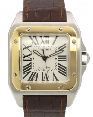 Cartier Santos 100 Yellow Gold/Steel Silver Opaline Roman Dial & Leather Strap W20072X7 - PRE-OWNED