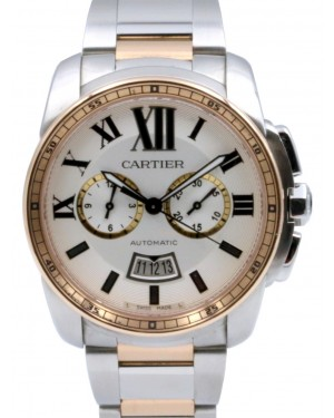 CARTIER W7100042 CALIBRE DE CARTIER CHRONOGRAPH 42mm Pink Gold and Steel BRAND NEW