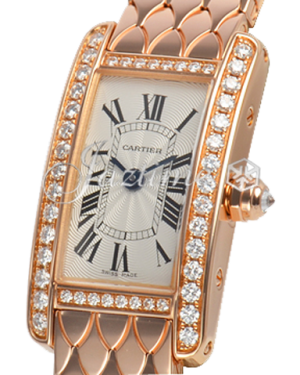 CARTIER WB710012 TANK AMERICAINE 18K PINK GOLD, DIAMONDS BRAND NEW