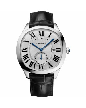 Cartier Drive Silver Dial Stainless Steel Bezel Black Leather Strap 41mm WSNM0015 - BRAND NEW