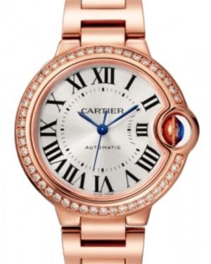 Cartier Ballon Bleu De Cartier Automatic Rose Gold Diamond 33mm Silver Dial Rose Gold Bracelet WJBB0036 - BRAND NEW