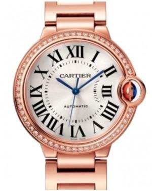 Cartier Ballon Bleu De Cartier Automatic Rose Gold Diamond 36mm Silver Dial Rose Gold Bracelet WJBB0037 - BRAND NEW