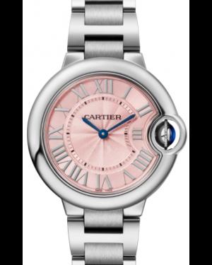 Cartier Ballon Bleu De Cartier Stainless Steel Pink 33mm Dial Bezel & Bracelet WSBB0033 - BRAND NEW
