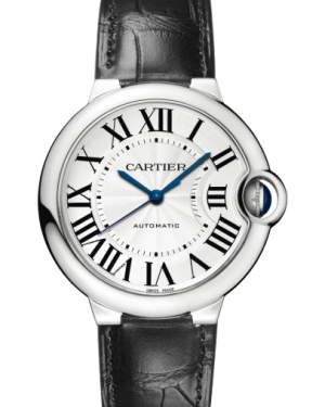 Cartier Ballon Bleu De Cartier Stainless Steel Silver 36mm Dial Leather Strap WSBB0028 - BRAND NEW