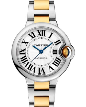 Cartier Ballon Bleu De Cartier Yellow Gold Silver 33mm Dial Stainless Steel Bracelet Automatic W2BB0002 - BRAND NEW