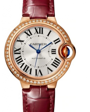 Cartier Ballon Bleu De Silver Dial Diamond Rose Gold Bezel Red Leather Strap 33mm WJBB0033 - BRAND NEW