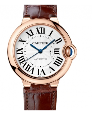 Cartier Ballon Bleu De Silver Dial Rose Gold Bezel Leather Strap 42mm WGBB0017 - BRAND NEW