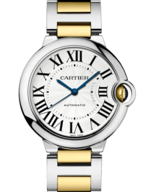 Cartier Ballon Bleu de Silver Dial Stainless Steel/Yellow Gold  Bezel & Bracelet 36mm W2BB0012 - BRAND NEW