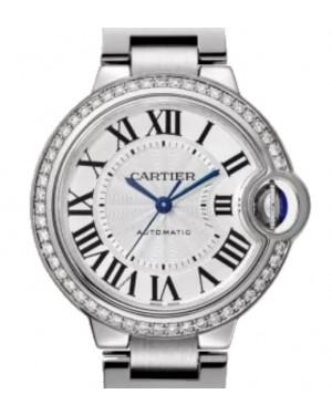 Cartier Ballon de Cartier Ballon Bleu de Cartier Women's Watch Automatic Stainless Steel Diamonds 33mm Silver Dial Steel Bracelet W4BB0023 - BRAND NEW