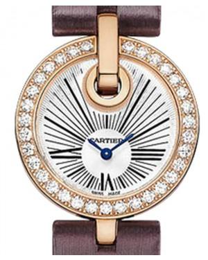 Cartier Captive De Cartier Rose Gold Case Diamond Bezel 27mm Silver Dial Satin Leather Strap Quartz WG600007 - BRAND NEW
