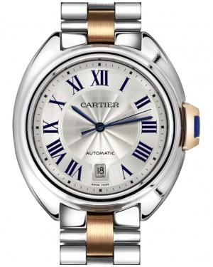 Cartier Cle de Cartier Men's Watch Automatic Stainless Steel 40mm Silver Dial Steel Rose Gold Bracelet W2CL0002 - BRAND NEW