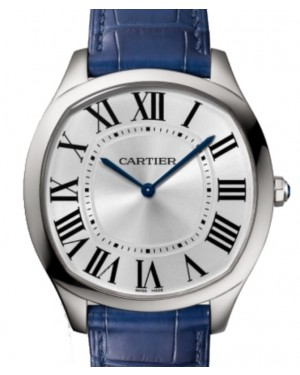Cartier Drive De Cartier Extra-Flat Manual Winding  Large Stainless Steel Silver Dial Alligator Leather Strap WSNM0011 - BRAND NEW