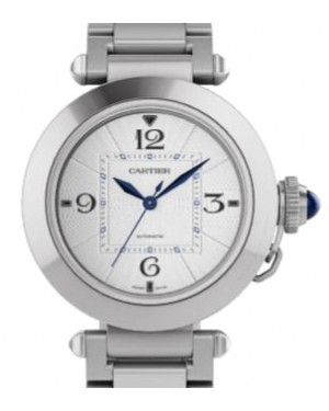 Cartier Pasha De Cartier Automatic Interchangeable Metal and Leather Straps Stainless Steel 35mm Silver Dial Steel Bracelet WSPA0013 - BRAND NEW