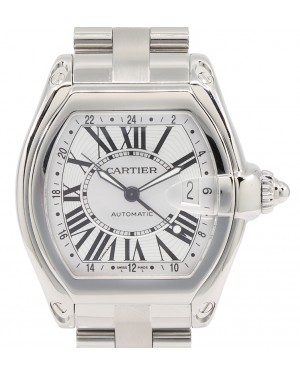 Cartier Roadster GMT Extra Large Stainless Steel Silver Roman Dial & Steel Bracelet Automatic W62032X6 - PRE-OWNED