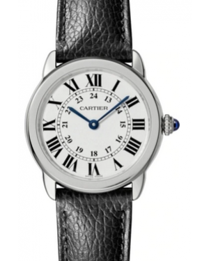 Cartier Ronde Solo De White Dial Stainless Steel Bezel Black Leather Strap 29mm WSRN0019 - BRAND NEW